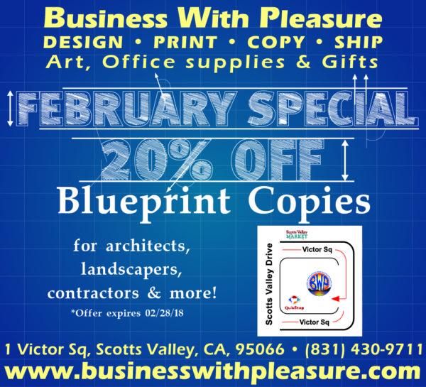 Business with pleasure headquarters for printing santa cruz bwp ad feb 2018 blueprints malvernweather Gallery